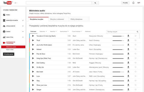 biblioteka muzyki youtube